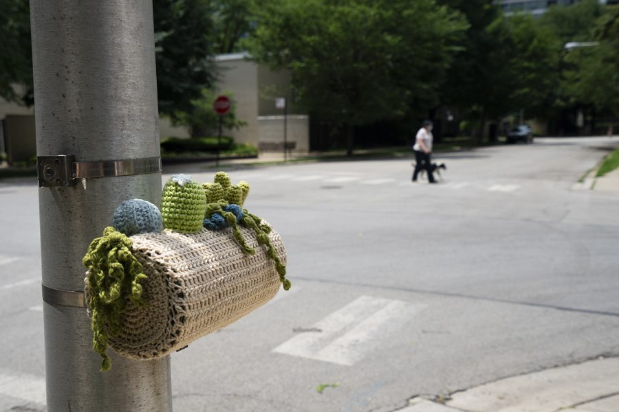 A yarn replica of a cactus planter, one of Sherman's most popular pieces, can be found at the intersection of West 9th Street and South Plymouth Court.