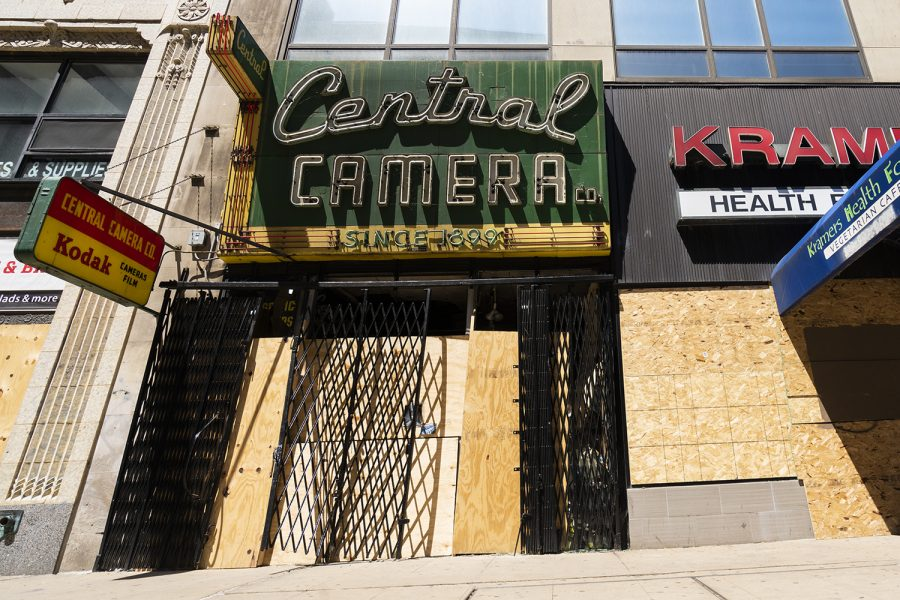Central Camera, 230 S. Wabash Ave., remains boarded up until owner Don Flesch has the means to rebuild. As of Friday, June 12 Flesch raised $200,095 of a $250,095 goal through GoFundMe.