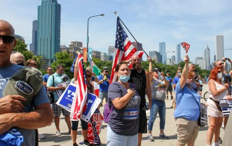 Nearly 200 Chicagoans came out to support the Back the Blue rally, many holding American flags in support of American law enforcement.