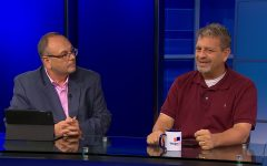 Marco DAngelo, co-founder of WagerTalk (left), and Tony Kiosow, a sports investment and gaming consultant for WagerTalk Media (right), discuss sports in the WagerTalk TV Studios in Las Vegas, Nevada.