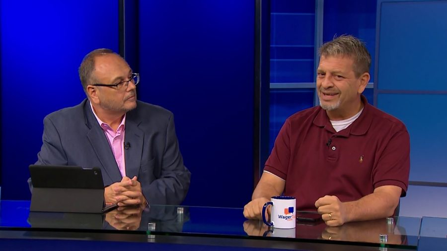 Marco D'Angelo, co-founder of WagerTalk (left), and Tony Kiosow, a sports investment and gaming consultant for WagerTalk Media (right), discuss sports in the WagerTalk TV Studios in Las Vegas, Nevada.