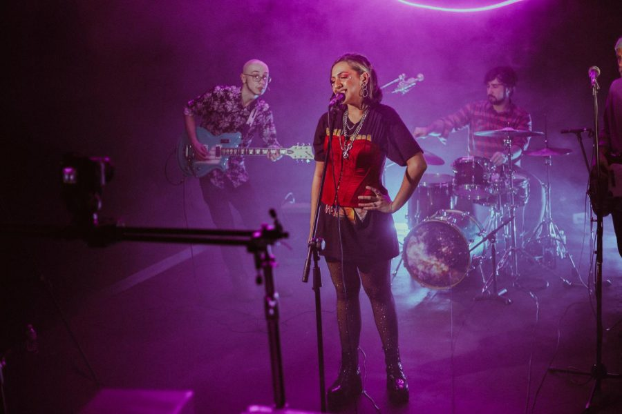 Mila Diaz, a 2020 music business management alum, and her band perform a virtual live set for Bottlenose Presents at bassist Jacob Allen's apartment in Pilsen.