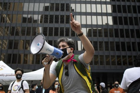 "Protesters congregated at Federal Plaza on South Dearborn Street to hold a rally about the recently postponed ""Citizen"
