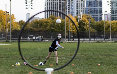 Quidditch players participate in socially-distanced activities like individual shooting drills and a 40-yard dash.