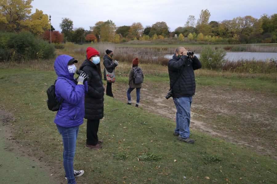 Birders use binoculars to observe birds in the middle of the Douglas Park golf course.