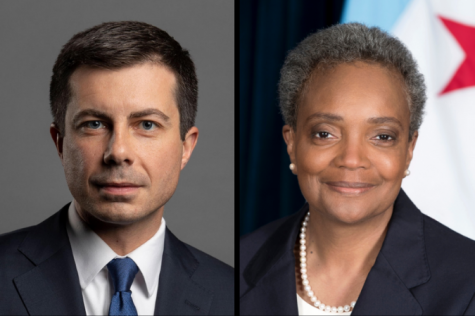 Mayor Lori Lightfoot (right) and former presidential candidate Pete Buttigieg (left) discuss how voting is an exchange of trust in democracy.
