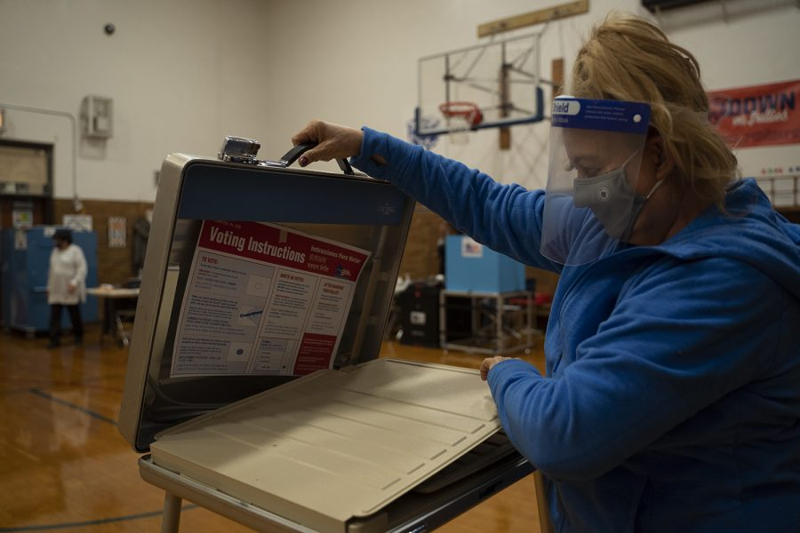 Dozens of Accuvote machines show the results and statistics from each ballot box and are printed out at the end of Election Day.
