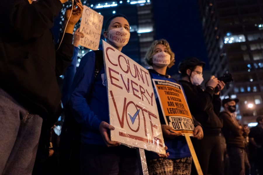 Protesters gather at Daley Plaza and protest to count every vote after the Trump campaign called for a temporary halt in the counting process Tuesday night.