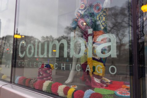 Columbia's windows have been 'yarn bombed' by Chicago's knifty knitters