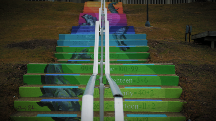 Colorful stairs provide an artistic splash in downtown Mount Clemens, Michigan.