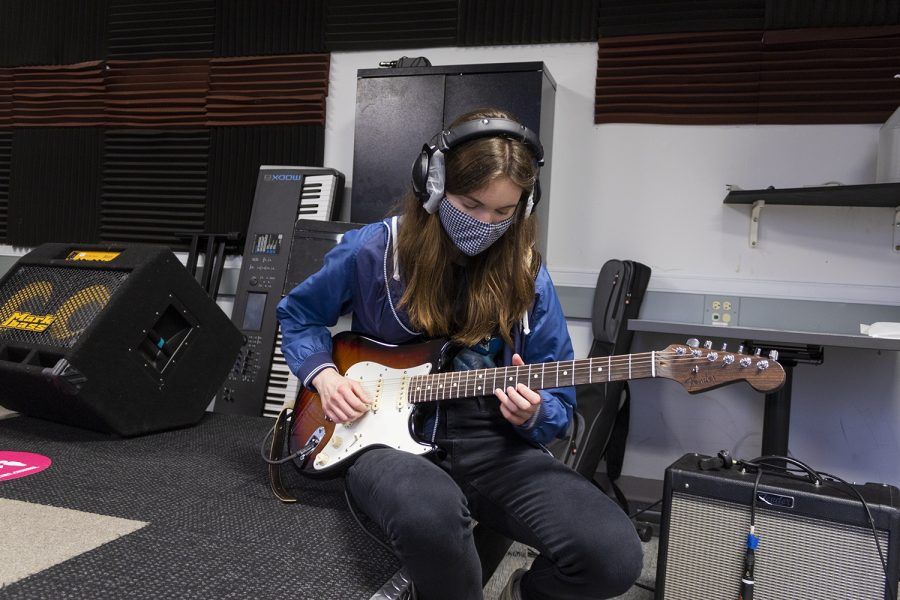 Like her fellow band members, Hannah Pope utilizes the Motu system to communicate and hear directions from other recording rooms.