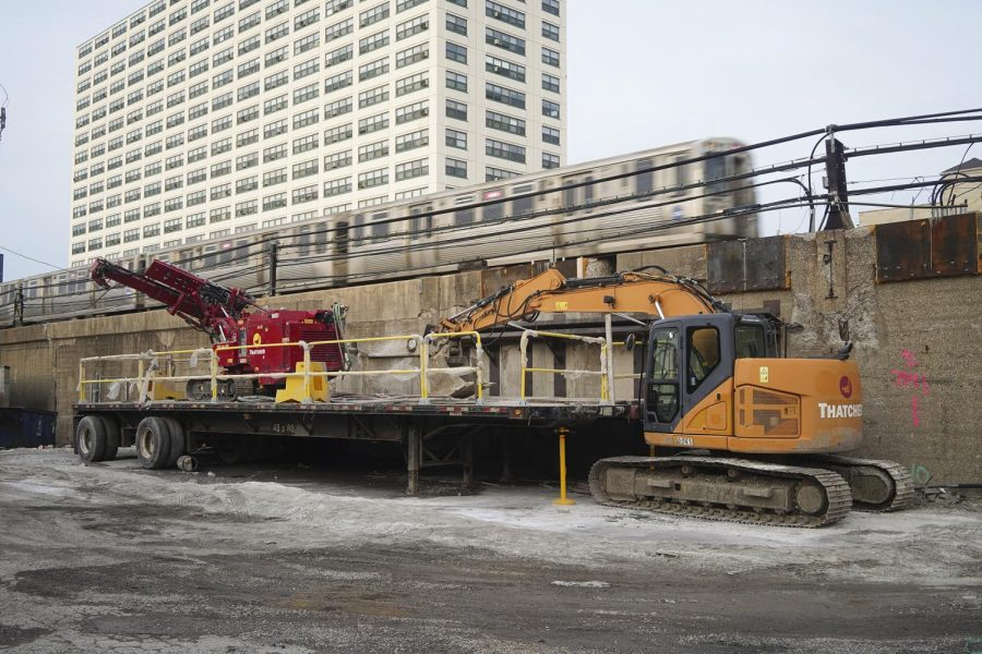 Demolition of the Lawrence Red Line station has already begun, with work vehicles beginning the early stages of preparation. Trains are still accessible from the stop.