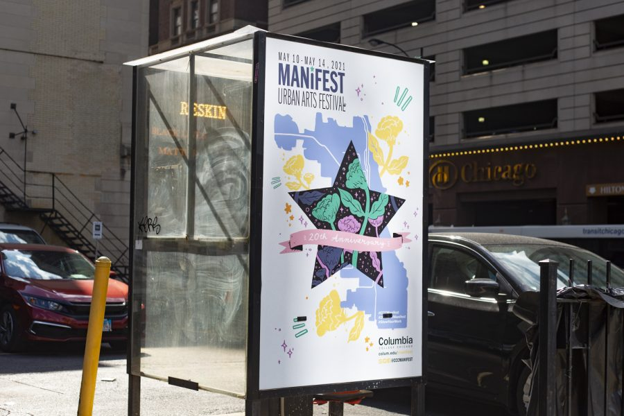 Columbia's campus is filled with Manifest signs promoting the final virtual event of the Spring 2021 semester. One of them can be seen in a parking lot on Wabash Avenue.