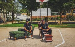 """Alt Space co-founders Jordan Campbell (left) and Jon Veal (right) in Hubbard Park in Austin, a West Side neighborhood, for their first project, """"Project Stamp."""" Courtesy of Alt Space"""