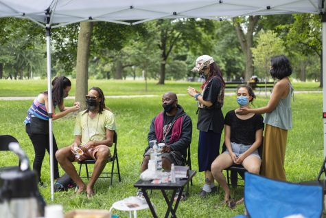 """The healing station at """"Healing in the Park"""" offered free reiki, acupuncture and herbs."""