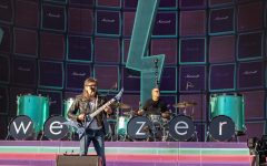 Rivers Cuomo, lead singer of Weezer, performs with drummer Patrick Wilson at Wrigley Field.