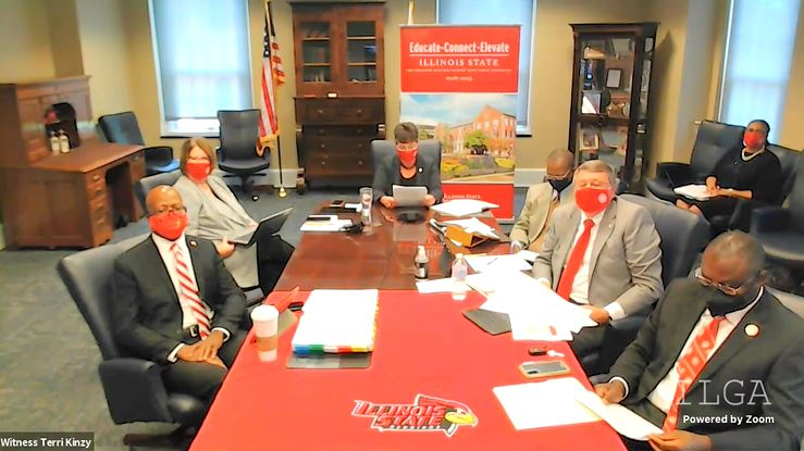 In a show of return to in-person education, representatives from Illinois State University joined the two House committees Aug. 5 virtual hearing from a conference room on their campus to present what reopening would look like for ISU.