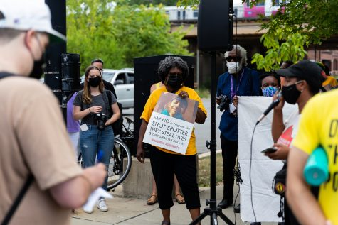 Organizers gather at the 6300 block of South Loomis to protest and demand that the Chicago Police Department end their contract with ShotSpotter.