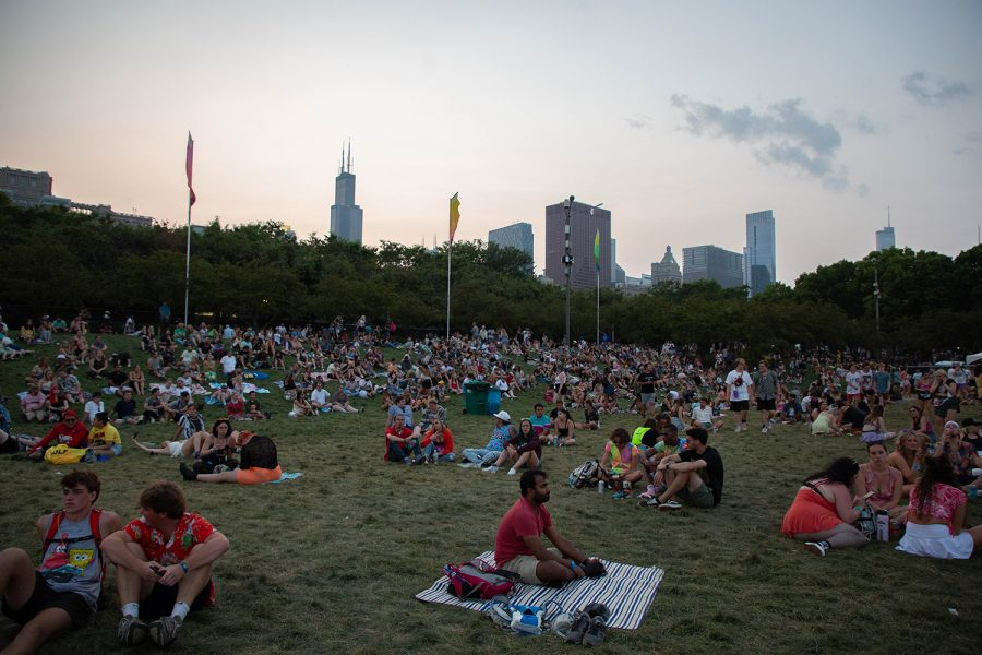 Festivalgoers congregate on the Lollapalooza grounds, just across the street from Columbias campus.