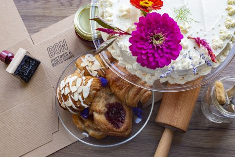 Vanilla cake, almond and chocolate croissants and strawberry Danish are some of the vegan pastries Bon Pastries and Baked Goods offers.