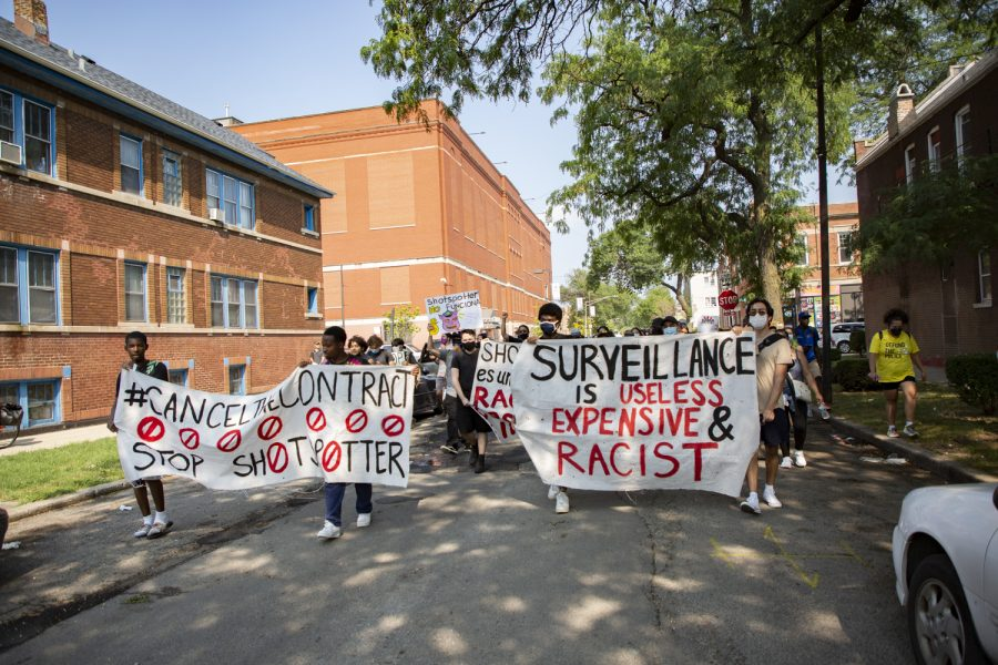 Little Village community members march west on 24th Street toward Ald. Michael D. Rodriguezs (22nd Ward) office, protesting the use of ShotSpotter in Chicago July 29.