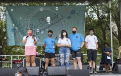 The Student Government Association speaks at New Student Convocation at Grant Park Sept. 3.