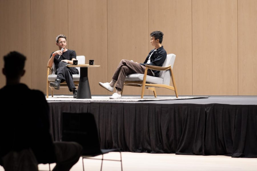 Kyle Beachy (left) and Minding the Gap director Bing Liu (right) gather at a Chicago Humanities Festival event for a conversation about skateboarding and what it means to be influenced by a childhood passion.